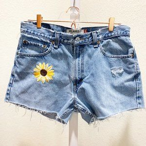 Levi's Upcycled Hand Embroidered Cut Offs